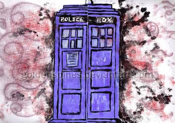 Monotype Print: TARDIS by goldenspines