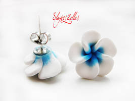 White n Blue polymer clay flowers post earrings by Benia1991