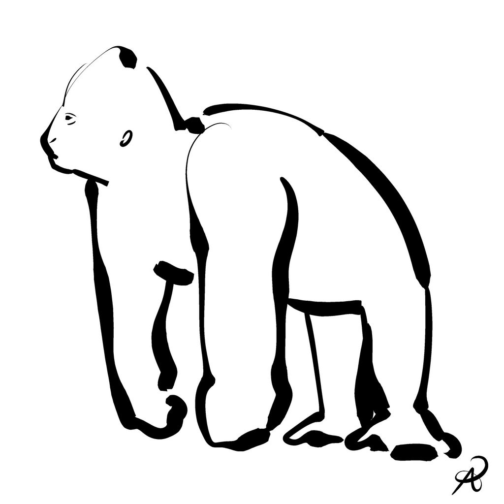 Inktober 2018 #20 - Mountain Gorilla by callanerial