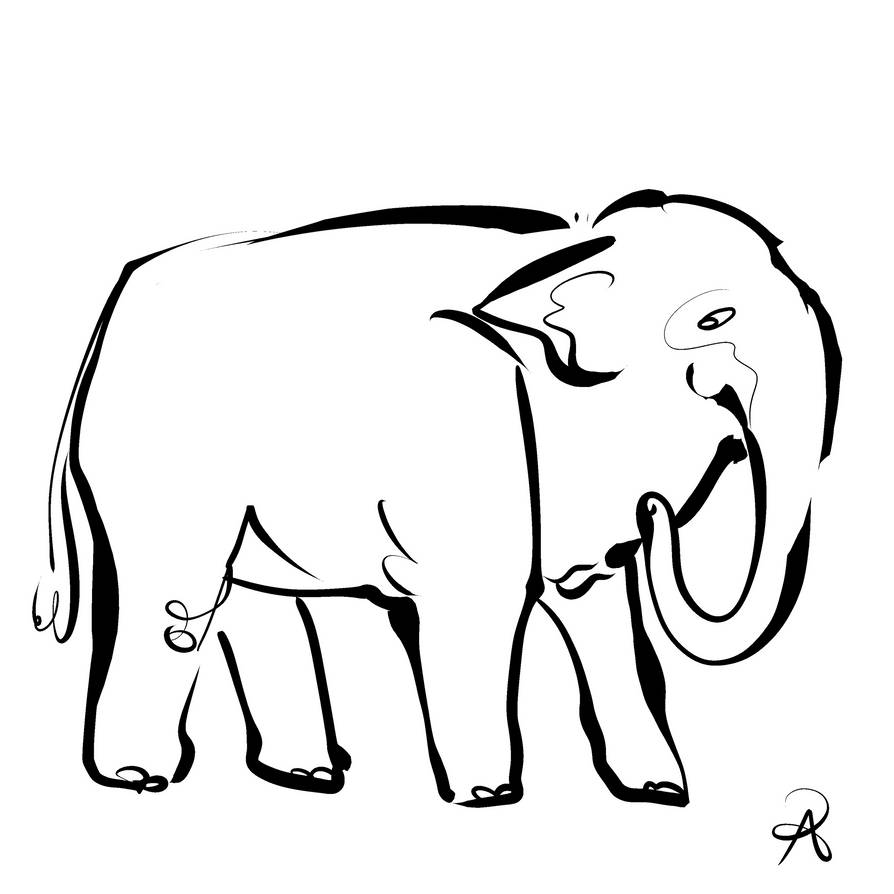 Inktober 2018 #30 - Sumatran Elephant by callanerial