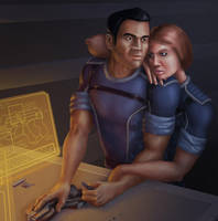 Commission: Shepard and Kaidan by Sin-Vraal