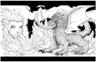 Dragon Girl BW by rantz