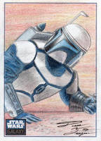 Star Wars G6 - Jango Fett Sketch Art Card by DenaeFrazierStudios