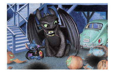 Pumpkins (Toothless and Stitch) by DenaeFrazierStudios