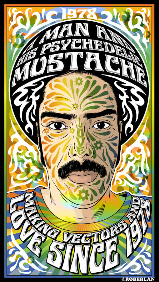 Psychedelic Mustache by roberlan