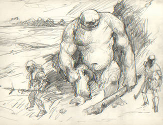 Hill troll and orcs by animationgorilla
