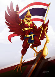 Garuda salute for Thailand by Anupap