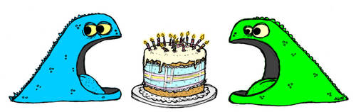 Monster and Cake Birthday Mug by billiambabble