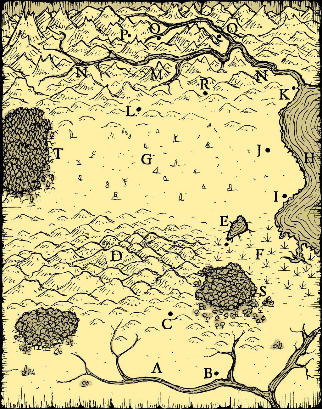 Hand drawn map (Dark Temple) (yellow) by billiambabble