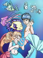 Mermaids and Fish Friends by Melomiku