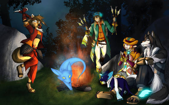 Collab Around The Campfire by ZinyaWolf