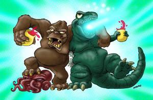 King Kong vs Godzilla by DadaHyena