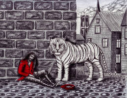 Situation pen ink and colored pencils drawing by Vitogoni