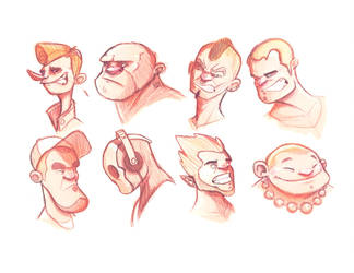 8 face sketch #01 by Big-Bouk