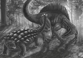 Spinosaur Vs Ankylo sketch by verdilaksBreeding
