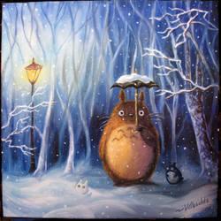 Totoro and winter by villasukka