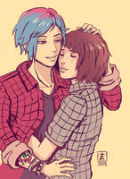 Life Is Strange - Max and Chloe - Inktober plaid by Maarika