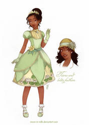 Tiana and lolita fashion by Moon-In-Milk