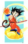 Kid Goku on the flying nimbus by amtaylor12