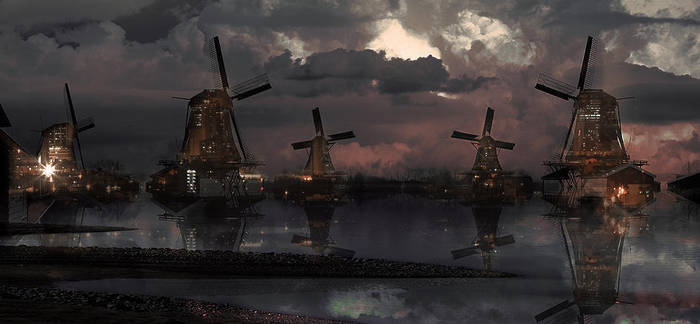 windmills city by Dye-Evolve
