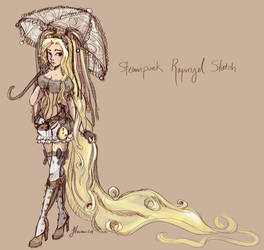 Steampunk Rapunzel Sketch by NoFlutter