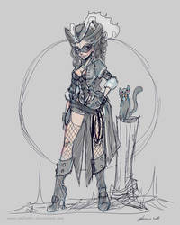 Pirate Catwoman quick sketch by NoFlutter