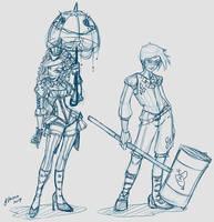 Genderswap Harley and Joker Sketch Idea 2 by NoFlutter