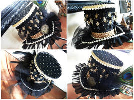 Black and Gold Mini Top Hat by NoFlutter