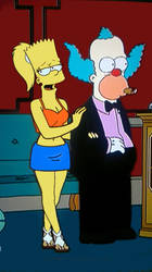 Nick's doodles: female adult Bart with Krusty by Insert-artistic-nick