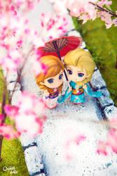 Elsa and Anna . Hanami by OrchidDolls