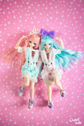 Lily and Miu .  Fairy-kei bunnies by OrchidDolls