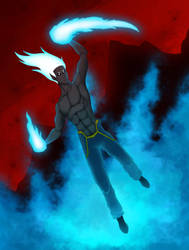 Blue fire elemental by VanManaez