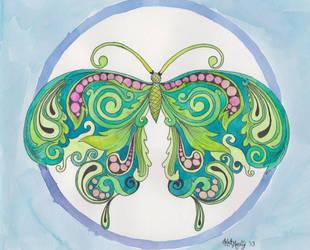 Blue and Green Butterfly by bummblebird