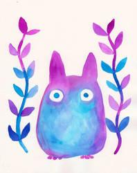 Chibi Totoro Watercolor by bummblebird