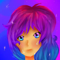 Galaxy Girl Crying by Silvy-draws
