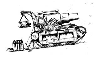 Steampunk 13 inch howitzer on old tank chassis by yereverluvinuncleber
