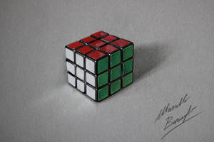 Rubiks Cube drawing by Marcello Barenghi by marcellobarenghi