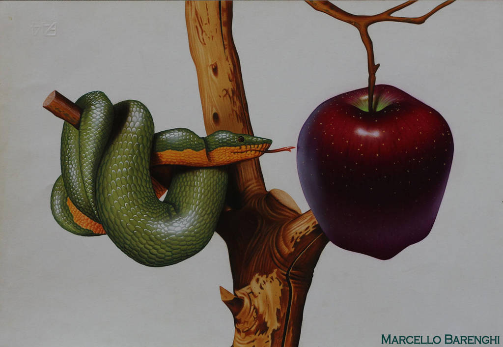 Snake and Apple DRAWING by Marcello Barenghi 1991 by marcellobarenghi