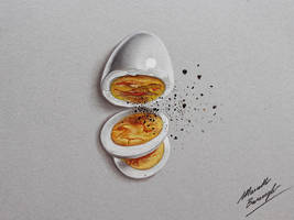 Boiled egg and pepper DRAWING by marcellobarenghi