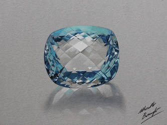 Aquamarine gemstone DRAWING by Marcello Barenghi by marcellobarenghi