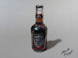 Jack Daniels and cola bottle - drawing by marcellobarenghi