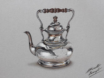 Silver teapot DRAWING by marcellobarenghi