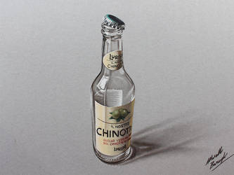 Chinotto empty bottle DRAWING by marcellobarenghi