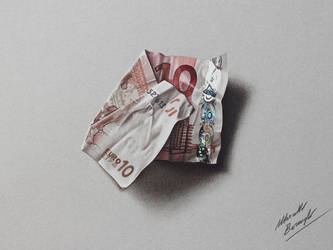 10 euro note DRAWING by Marcello Barenghi by marcellobarenghi