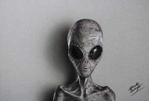 Grey Alien DRAWING by Marcello Barenghi by marcellobarenghi