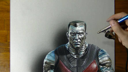 Drawing Colossus from Deadpool by marcellobarenghi