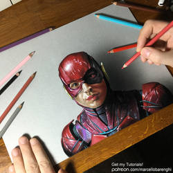 Drawing The Flash Ezra Miller by marcellobarenghi