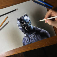 Black Panther Drawing by marcellobarenghi