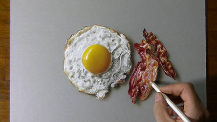 Drawing Fried Egg and Bacon by marcellobarenghi