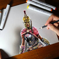Drawing KASSANDRA from new Assassins Creed by marcellobarenghi